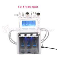 máquina ultrasónica del depurador de la piel al por mayor-6 en 1 hydradermabrasion + depurador de la piel + RF + martillo de enfriamiento + ultrasonidos + spray de oxígeno máquina facial para spa