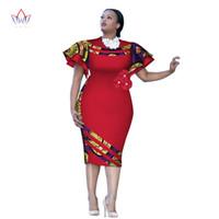 personalizar la ropa al por mayor-Personalizado estampado africano clothingRuffle manga rodilla vestido verano mujeres vestidos de fiesta más tamaño ropa africana 6XL BRW WY2409