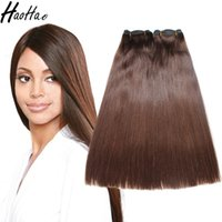 Wholesale fast texture - Super Double Drawn!!! Color Hair Machine Double Weft Straight Brazilian Hair Bundles Thick Bottom Fast Shipping