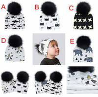 Wholesale kids panda hats resale online - 5Colors INS Newborn Pom Beanie CAPS HATS Baby toque Pom Beanie Faux Fur kids hat KIDS PANDA HATS