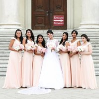 Wholesale blush chiffon ruffle wedding dress for sale - Group buy Blush Pink Cap Sleeves A Line Chiffon Long Bridesmaid Dresses with Sparkly Sequins Beaded Maid Of Honor Gowns Wedding Guest Party Wear