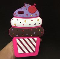 iphone kekleri toptan satış-3D Karikatür Kiraz Kek Dondurma Yumuşak Silikon Telefon Kapak Kılıf iphone X 8 7 6 S Artı Samsung S8 Artı Not 8