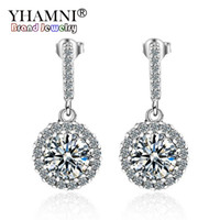 Wholesale girl asian charm - YHAMNI Fashion 925 Sterling Silver For Women Studs Earrings Luxury Cubic Zirconia Jewelry Girl Gift High Quality Wholesale LED427