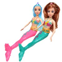 Wholesale Inflatable Doll New - Wholesale- 2017 New Design Red & Green Colors Mermaid Princess Doll Baby Toy Accessories Doll Girls Gift