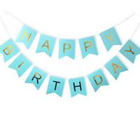 baby mädchen bunting großhandel-1 Satz Papier Happy Birthday Banner Party Dekorationen Kinder Girlande Kinder Jungen Mädchen Kind Bunting Flagge Erwachsene Bevorzugungen Liefert