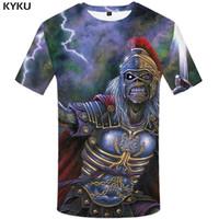 ropa de soltera al por mayor-KYKU Iron Maiden Camiseta Hombres War Skull Tshirt Hip Hop Tee Lightning camiseta 3d Ropa de anime Cool Mens Clothing 2018 Summer Top