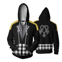 Wholesale sora cosplay for sale - Game Kingdom Hearts Sora Aqua Riku Full Zip Thin Hoodies Cool Pullover Coat Jacket Unisex Jumper Sweatshirt Cosplay