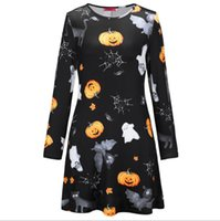 Wholesale costume fashion sexy women red for sale - Women Clothes Skull Pumpkin Head Print Dresses Spring Autumn Long Sleeved Crew Neck Fashion Dresses Party Halloween Costume
