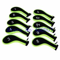 Wholesale Orange Golf Clubs - 10PCS Zipper Green Orange Neoprene Golf Iron Head Cover High Quality Head Cover For Golf Irons Club 3-9 A PW SW