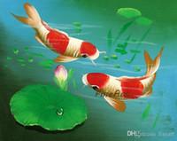 aceite de pescado de calidad al por mayor-Hecho a mano de buena calidad koi fish lienzo pintura animal arte de la pared lienzo lienzo pinturas al óleo dormitorio mejor pintura de calidad aceite