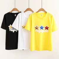 76c9acd1f6d16 oversized Plus Size Coon O-Neck T Shirt Women Short Sleeve Tshirt New  Pentagram Sequins White Yellow t-shirt Summer Top