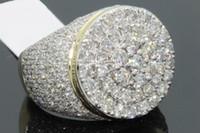 ingrosso diamanti in oro giallo-Anello da uomo in oro giallo 18 kt nuovo placcato in oro bianco e americano con diamante pieno e micro-intarsiato