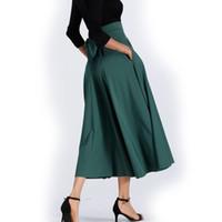 Falda larga de mujer - falda de oscilación grande de la moda europea y  americana - falda larga plisada de color sólido - comercio exterior al por  mayor af524a452b5a