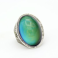 Wholesale focus change - New Design Ladies Finger Focus on Mood Ring Emotion Feeling Vintage Silver Plated Color Change Rings MJ-RS058