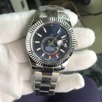Wholesale Luxury Brand Rol Automatic Movement Sky Dweller Sapphire Crystal Blue Dial Men Watch Silver Stainless Band