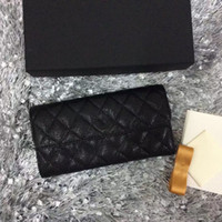 Wholesale vintage ladies purses resale online - 2017 Hot selling black classic Original leather quilted wallet ladies genuine leather long wallet fashion clutch small purse with box