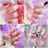 Wholesale diamond tips nails - 24pcs set 3D Fake Nails Marble French Acrylic Nails Glittering Diamond False Nails Artificial Nail Art Tips Full Nail Tips Manicure Tool