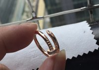 Wholesale tension lover - 2017 Hot Fashion nail pattern lovers ring 18K gold-plated Eternal love of the men and women wedding ring jewelry