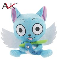 Wholesale stuffed plush fish resale online - Japanese Anime Cartoon Fairy Tail Happy with fish Plush Toy soft stuffed Doll Figure Toy cm for kids Birthday Gift