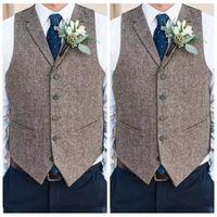 gri balo kıyafeti toptan satış-Ülke Çiftlik Düğün Gri Yün Yelekler Özel Online 2019 Damat Yelek Slim Fit Erkek Takım Elbise Yelek Balo Düğün Yelek Geri Bağlı Damat Yelek