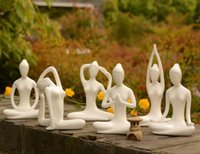Wholesale yoga room decor resale online - ceramic beauty Yoga girl lady figurine home decor crafts room decoration handicraft ornament porcelain figurine sports statue