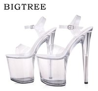 Wholesale red head heels - Women Shoes High Quality Female Model T Station Catwalk Sexy Crystal Transparent Shoes 10CM High Heels Fish Head Sandals