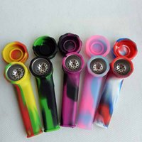 Wholesale Smoke Silicone - Creative Design Silicone Tobacco Smoking Cigarette Pipe Mini Water Hookah Bong 5 Colors Portable Shisha Hand Pipes Accessories Tool tube