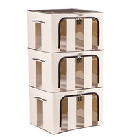 Wholesale 3PCS Organizer Quart Liter Extra large Foldable Storage Containers Fabric with See through Window Oxford Fabric Bins