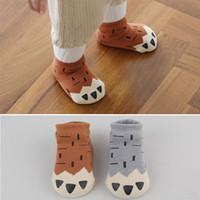 Wholesale Thick Boys Socks - 5 styles Winter Baby Socks Thick Newborn Cartoon 0-4 Years Soft Cotton Paw Sock Kids Casual Meias Terry Anti Slip Boys Girls Socks