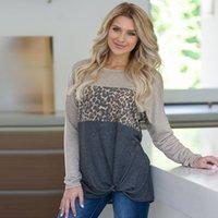 nœud chemise à manches longues achat en gros de-Pull col rond manches longues femmes surpiqures léopard nouées T-shirts femmes T-shirt