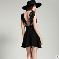 Wholesale new beach clothing ladies online - Spring summer women dress New sexy fashion backless angel wings beach skirt Deep v sling black white ladies clothing