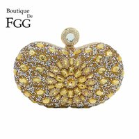 Wholesale Bridal Party Totes - Boutique De FGG Hot-Fixed Gold Diamond Women Evening Bags Wedding Party Crystal Metal Clutches Purse Bridal Tote Clutch Handbag