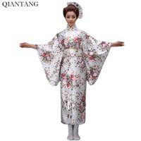 ingrosso yukata bianco-Kimono giapponese vintage donna bianco Yukata Haori con abito da sera Obi Costume tradizionale in Asia Vestitino taglia unica H0044