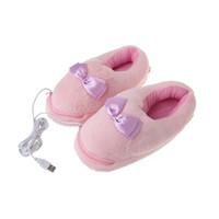 ayaklar ısınma ayakkabıları toptan satış-1 Çift USB Powered Yastık Ayakkabı Elektrikli Isı Terlik USB Gadget Sevimli Pembe Ilmek Peluş Ayak Isıtıcı Ayakkabı