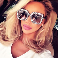 Wholesale Glass Inlays - Fashion Rhinestone Inlay Oversized Square Sunglasses Women Elegant Brand Designer Big Mirror Sun Glasses For Female UV400