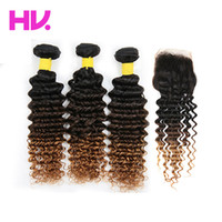 Wholesale 8a Ombre deep wave Human Hair Bundles with Closure T1B malaysian Remy ombre deep wave Hair weave with closure extension