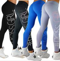 Wholesale fitness yoga pants women for sale - Group buy 4 color women legging Women s Sports YOGA Workout Gym Fitness Leggings Pants sports leggings letter pants KKA5812