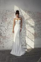 Wholesale silk chiffon sweetheart wedding dress for sale - Group buy 2018 Designers Ivory Julie Vino Wedding Dresses Vestido De Noiva Sweetheart Appliques Sheer Bodice Chiffon Beach Wedding Gown