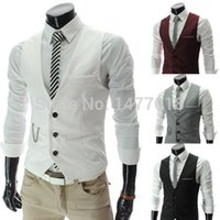 Wholesale sleeveless jacket for male casual online - Dress Vests For Men Slim Fit Mens Suit Vest Male Waistcoat Gilet Homme Casual Sleeveless Formal Business Jacket Hotsale