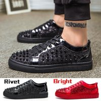 Wholesale Shoes For Nightclub - Party Wedding Shoes Nightclub Low Sneakers For Men Designer Trainers Footwear Luxury Bright Leather Spikes Fashion Rivet Shoes