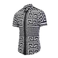 chemies schlanke passform großhandel-Gedruckt Männer Kleid Shirt spritzte Lackmuster gedruckt 3D Shirt Slim Fit männlichen Kurzarm Shirts Chemise Homme Plus Größe D6056