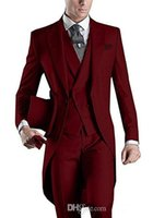 ingrosso maglia grigia tuxedo blu-2018 fengjiandress Custom Design Bianco / Nero / Grigio / Borgogna / Blu Tailcoats Mens Groomsmen Party Abiti Smoking da sposa (Jacket + Pants + Vest)