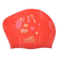 touca de natação vermelha venda por atacado-Atacado! Silicone impermeável touca de natação touca de banho Star Design Red