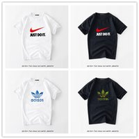 Wholesale fashion print ads - ad Sports brand t shirt men 2018 Fashion Just Do It Letter Printed Fashionable Round Neck man's T-shirt short sleeve tshirt Tops nk