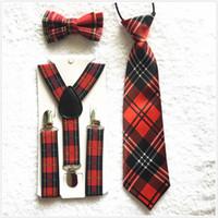 Wholesale British Bowtie Style - New Kids Boys Suspenders Bowtie Ties Set Plaid British Style Adjustable Elastic Straps Casual Apparel Accessories BDTZ058