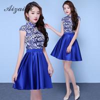 vestidos azules orientales al por mayor-Royal Blue Modern Retro Cheongsam Vestido de noche de estilo chino tradicional Sexy Qipao Vestido Oriental Robe Chinoise de Qi Pao