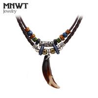 männer stammes- großhandel-MNWT Tibetischen Perlen Neckles Vintage Tribal Wolf Zahn Anhänger Halskette Leder Brave Männer Halskette Seil Böhmischen Schmuck