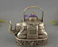 prato do quarto venda por atacado-Coleção de latão antigo banhado a prata vinho pote sorte oito elefante tesouro bule
