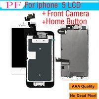 iphone 5g de la pantalla táctil del reemplazo al por mayor-1 pieza de grado AAA LCD de pantalla táctil para iPhone 5 5G 5C Asamblea Digitalizador de pantalla de reemplazo con botón de inicio + cámara frontal