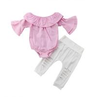 белые детские рубашки-комбинезоны оптовых-2018 Newborn Baby Kids Girls Plaid Pink Flare Romper T-Shirt Tops Hole White Ripped Pants Outfits Summer Fashion Set Clothes